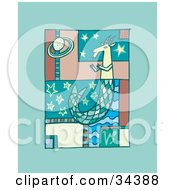 Clipart Illustration Of A Scene Of Capricorn With A Scaled Tail Floating In Stars