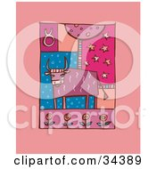 Clipart Illustration Of A Scene Of Taurus Showing A Bull With Flowers by Lisa Arts
