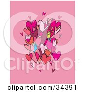 Clipart Illustration Of A Loving Couple Admiring Each Other In A Cluster Of Pink And Red Hearts