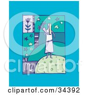 Clipart Illustration Of A Scene Of Virgo Showing A Woman Carrying Flowers With Stars