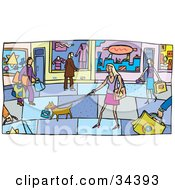 Street Scene Of Dogs And Shopping People On A Sidewalk Outside Of Store Fronts