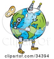Clipart Illustration Of A Wind Up Planet Earth