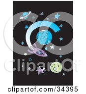 Clipart Illustration Of A Person In A Purple Rocket Shooting Around Planets In Starry Outer Space
