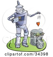 Heartless Tin Man Dropping His Heart Into A Trash Can