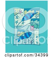 Poster, Art Print Of Scene Of Pisces Showing Two Fish Attached Underwater With Stars