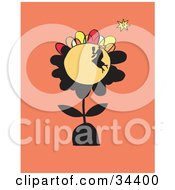 Clipart Illustration Of A Silhouetted Woman Having A Picnic On The Surface Of A Large Flower
