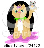 Clipart Illustration Of A Cute Mouse On A Beige Cats Tail Over A Black Pink And White Background