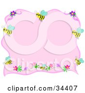 Clipart Illustration Of A Pink Stationery Background Bordered By Yellow Bees And Flowers by bpearth