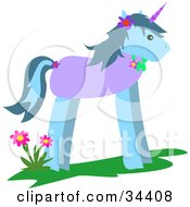 Clipart Illustration Of A Blue Unicorn With A Purple Body And Horn