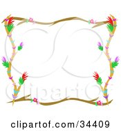 Clipart Illustration Of A Branch Border With Colorful Flowers And Stripes Framing A White Background by bpearth