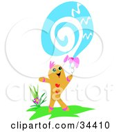Clipart Illustration Of A Happy Gingerbread Man Flying A Blue Swirly Balloon by bpearth
