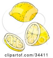 Clipart Illustration Of A Fresh Yellow Lemon Shown Whole Halved And Sliced