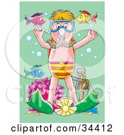 Poster, Art Print Of Blond Boy Wearing Fins And Scuba Gear Standing At The Bottom Of The Sea With An Anchor Coral And Colorful Fish