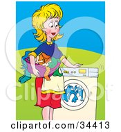 Clipart Illustration Of A Pleased Blond Caucasian Woman A Mother Or Wife Watching Laundry Spin In A Front Loading Washing Machine by Alex Bannykh
