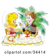 Clipart Illustration Of A Happy Caucasian Couple Sipping Cocktails Or Lemonade At A Table In A Restaurant by Alex Bannykh