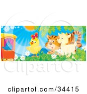 Clipart Illustration Of A Blue Bird On A Train Watching A Chick Tiger And Goat Play In A Field Of Flowers On A Sunny Spring Day by Alex Bannykh