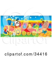 Clipart Illustration Of A Cute Spotted Puppy Driving A Train With A Bluebird Hedgehog And Bear Riding A Butterfly And Sea Turtle Watching It Pass