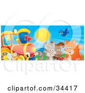 Clipart Illustration Of A Bluebird Fox Dog And Cat Playing With A Ball Near A Train On A Sunny Day by Alex Bannykh