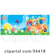 Clipart Illustration Of Two Butterflies Over A Ball In A Flowery Field With A Bird And Dog On A Train On A Sunny Spring Day