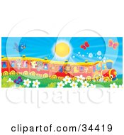 Clipart Illustration Of A Blue Bird And Butterflies Flying Over Flowers Near A Cat Pig Goat Rhino Squirrel Lion Chick And Fox On A Train On A Sunny Day by Alex Bannykh