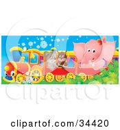 Clipart Illustration Of A Cute Pink Elephant Owl And Puppy Riding On A Train by Alex Bannykh