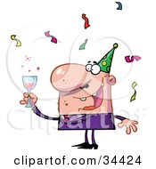 Clipart Illustration Of A Happy Caucasian Man Holding Up His Alcoholic Beverage While Having Fun At A Party