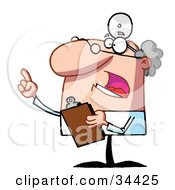 Clipart Illustration Of A Bossy Male Senior Doctor Or Veterinarian Wearing A Headlamp Holding A Clipboard And Hollering by Hit Toon