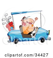 Clipart Illustration Of A Hyper Caucasian Man Driving A Golf Cart Like A Maniac