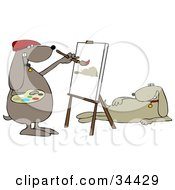 Clipart Illustration Of A Beige Dog Modeling For An Artist Dog As He Paints A Portrait