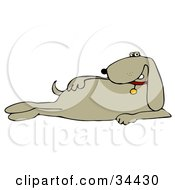 Clipart Illustration Of A Cool Beige Dog Modeling And Laying On Its Side