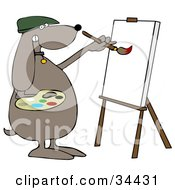 Clipart Illustration Of A Brown Dog Artist Painting On A Canvas