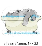 Clipart Illustration of a Tusked Gray Elephant Taking A Bubble Bath In A Tub by Dennis Cox