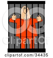 Jailed White Man In Orange Clothes Behind Bars In A Prison Cell