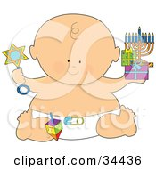 Clipart Illustration Of A Hanukkah Baby In A Diaper Holding A Star Rattle Gifts And A Menorah