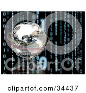 Clipart Illustration Of A 3d Chrome Globe Being Circled By Yellow And Red Binary Code On A Black Background With A Reflection And Strands Of Blue Coding
