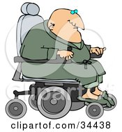 Geriatric Senior Man In A Green Robe And Slippers Operating A Power Chair