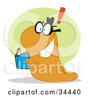 Clipart Illustration Of A Smart Orange Worm With An Idea Reading A Blue Book