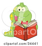 Clipart Illustration Of A Happy Yellow Spotted Green Caterpillar Reading A Good Book