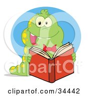 Clipart Illustration Of An Excited Green Caterpillar With Yellow Spots Reading An Entertaining Book