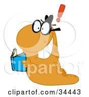 Clipart Illustration Of A Creative Orange Worm With A Thought Holding A Blue Book by Hit Toon