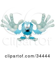 Clipart Illustration Of A Blue Furry Monster Reaching His Arms Out To The Viewer