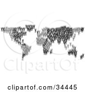 Clipart Illustration Of Black Silhouetted People Crowding Together And Forming The Global Continents