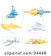 Clipart Illustration Of Icons Of A Sailboat Jet Lightning Bolt Rabbit Bird And Super Hero