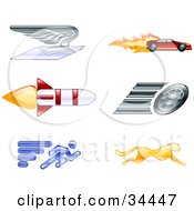Clipart Illustration Of Speed Icons Of A Winged Envelope Sports Car Rocket Tire Sprinter And Cheetah