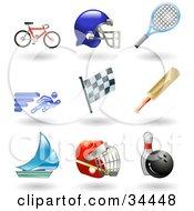Clipart Illustration Of A Bike Helmet Tennis Racket Runner Racing Flag Cricket Bat Sailboat Hockey Helmet And Bowling Ball With Pin by AtStockIllustration