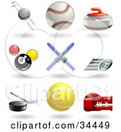 Clipart Illustration Of A Golf Ball With Clubs Baseball Curling Stone Pool Balls Skis Fast Tire Hockey Puck Tennis Ball And Boxing Glove by AtStockIllustration