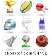 Clipart Illustration Of A Trophy Cup Rugby Ball Ping Pong Paddle And Ball Helmet Fish Uniform Shuttlecock Golfball On Tee And A Cricket Ball by AtStockIllustration