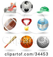 Clipart Illustration Of A Hockey Skate Soccer Ball Baseball Cap American Football Medal Helmet Baseball Bat Basketball And Golf Ball