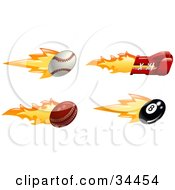 Clipart Illustration Of A Fast Fiery Baseball Boxing Glove Cricket Ball And Eight Ball by AtStockIllustration