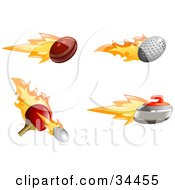 Clipart Illustration Of A Set Of Fast Fiery Cricket Golf And Tennis Balls With A Curling Stone by AtStockIllustration